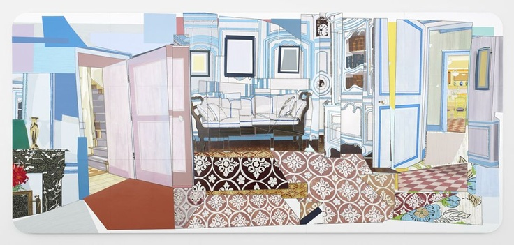 Mickalene Thomas - Monet's Blue Foyer, 2012 rhinestones, acrylic, oil, and enamel on wood panel 108 x 240 inches 274.3 x 609.6 cm Courtesy the artist and Lehmann Maupin, New York and Hong Kong