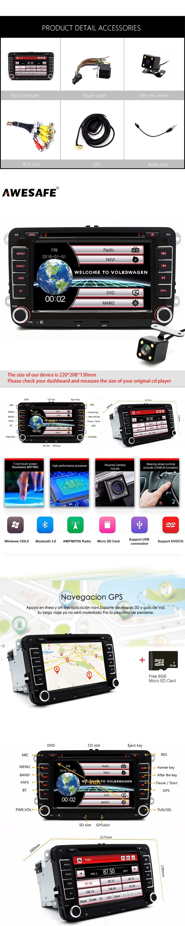 Wholesale 7 inch 2 Din Car DVD Player For VW/Volkswagen/Passat/POLO/GOLF/Skoda/Seat/Leon GPS Navigation Bluetooth Stereo Radio
