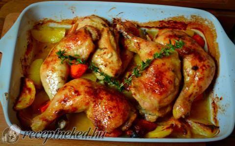 Zöldségágyon sült csirke recept fotóval