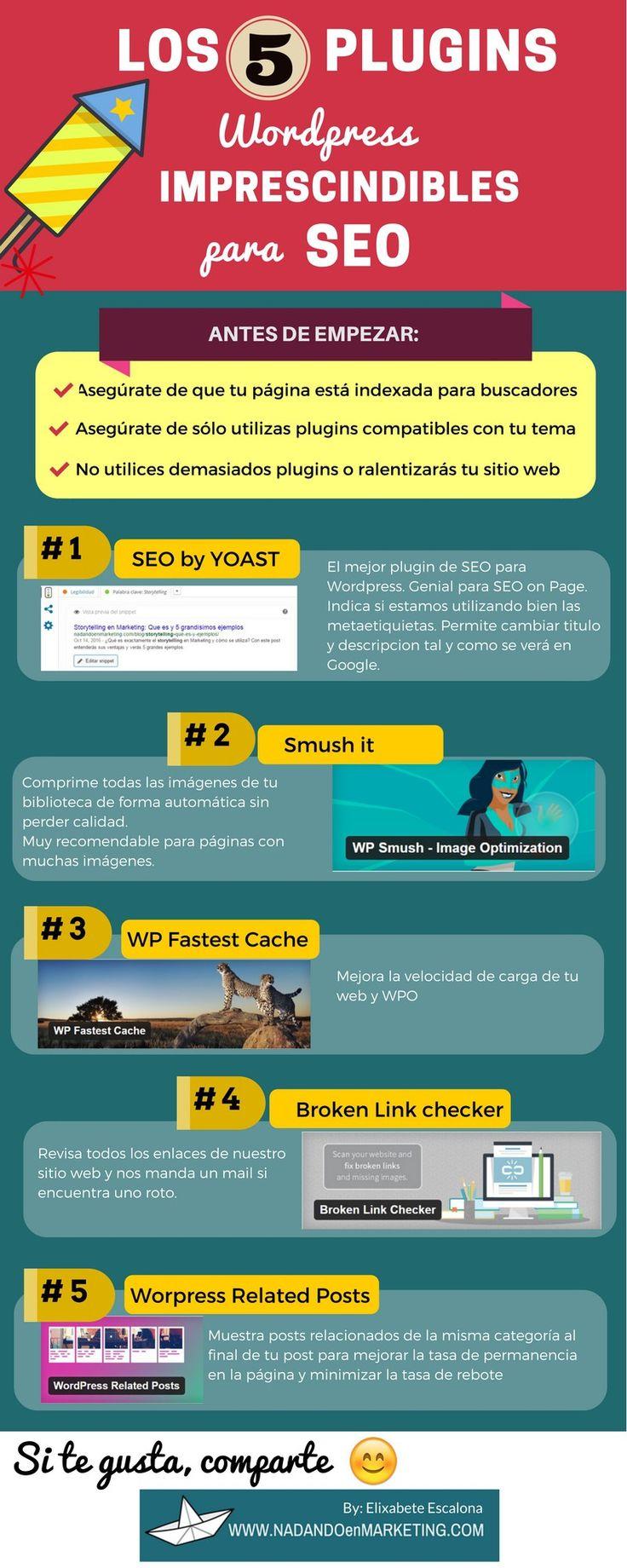 Hola: Una infografía con5 plugins de WordPress Imprescindibles para SEO. Vía Un saludo