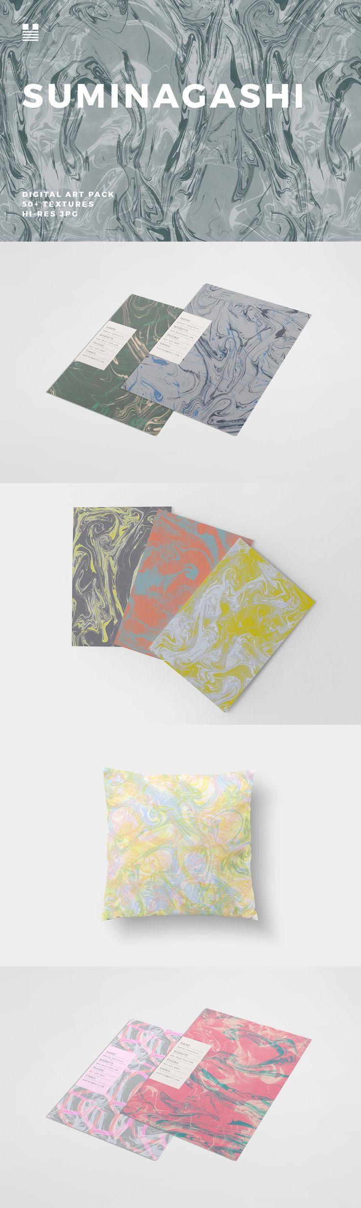 Suminagashi - A seamless texture set made using the Suminagashi marbling method. Neutral, vibrant, pastel a...