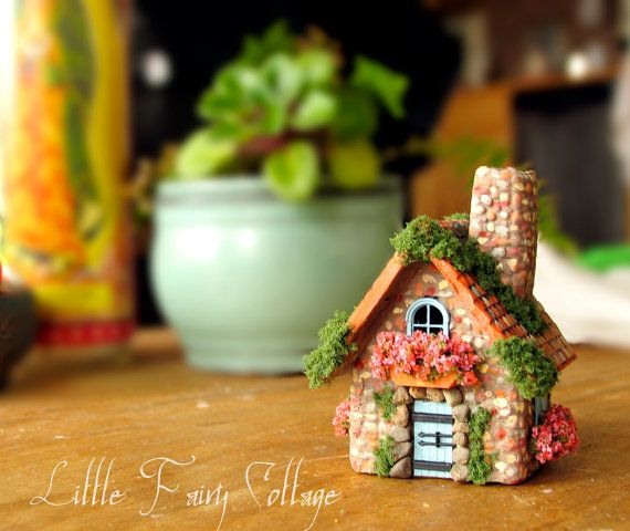 Tiny Alpine Fairy House - Miniature Stone Cottage with Terracotta Roof, Blooming Flower Boxes, Shutters and Moss
