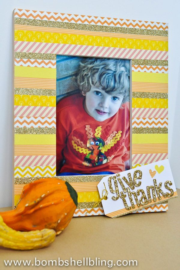 Make a personalized and simple Thanksgiving frame using Washi tape!
