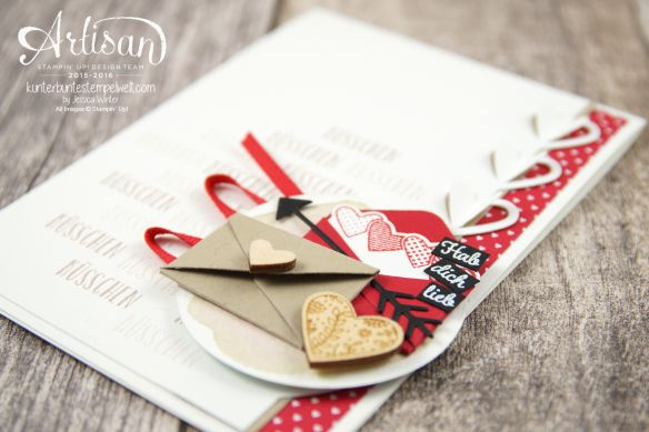 Stampin' Up! -Artisan Design Team-With Greetings and Kiss-Framelits Shapes Love Greetings Designer Paper in Block Love Greetings 4