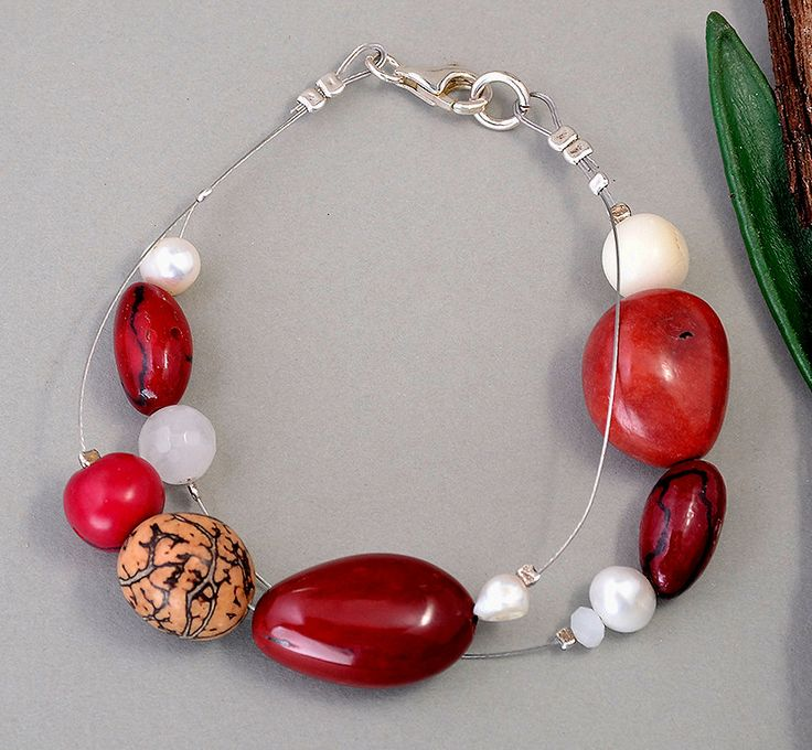 Bracelet with granate and red tagua nuts (vegetable ivory nuts), bracelet with pearls and agatha, elegant red tagua nut blue bracelet by NataliaNorenasilver on Etsy