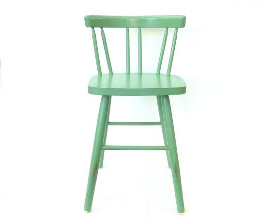 Not the green, but I like the style.  Vintage Mint Green Bar Stool ... Small Kitchen Stool, Child's Chair, Solid Wood Painted Barstool, Rustic Spindle Back Windsor Primitive