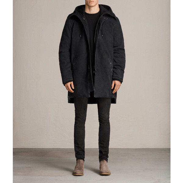 AllSaints Gosford Parka Coat (35.920 RUB) ❤ liked on Polyvore featuring men's fashion, men's clothing, men's outerwear, men's coats, black, mens heavy winter coats, mens parka coats, mens military coat, mens military style coat and mens oversized coat