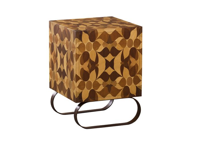 FALÓ Bedside table |  Bedside table with an interior shelf perfect for storage. An ancient inlaid wood technique was used to achieve the exquisite pattern featured on the exterior. Multilayer poplar structure supported by the iron base, characterized by a rusty finish covered in water based paint. The interior can be customized with natural woods, metals, leathers, paper linings and other materials. Also customizable with wooden invisible feet. #wood #design #interiordesign #furniture #home