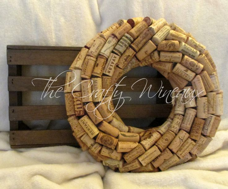 """Medium 13"""" Handmade Wine Cork Wreath, Without Grapes/No Grapes, Recycled Wine Cork Door Wreath - pinned by pin4etsy.com"""