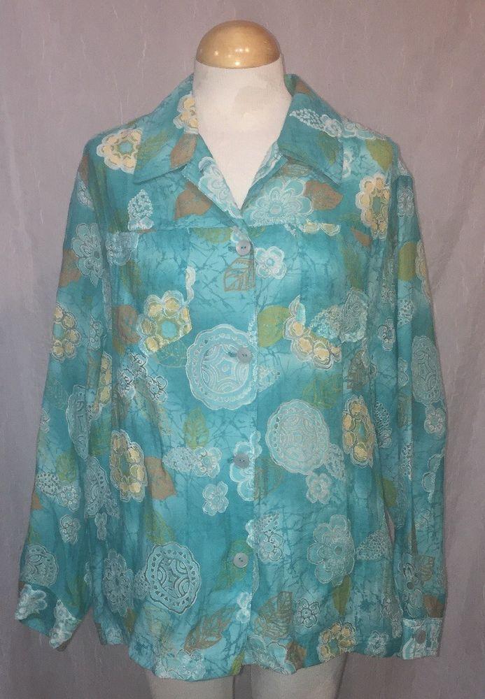9d8e8e8d29 ALFRED DUNNER Plus Size 18W Shirt Long Sleeve Aqua Blue Floral See-Through  Top