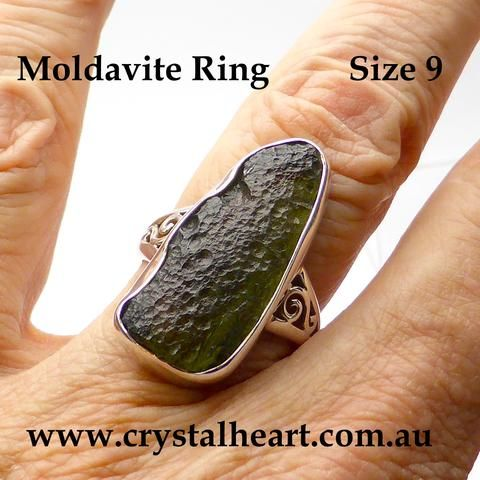 Raw Natural Moldavite Pendant | 925 Sterling Silver | Spiral Feature | Open Back | Ancient Meteor Impact | Scorpio | Crystal Heart Australia since 1986