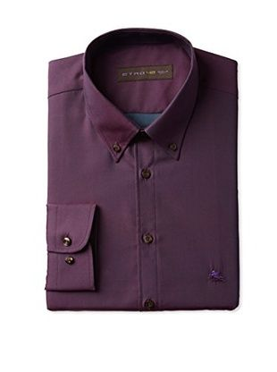 Etro Men's Long Sleeve Dress Shirt (Eggplant)