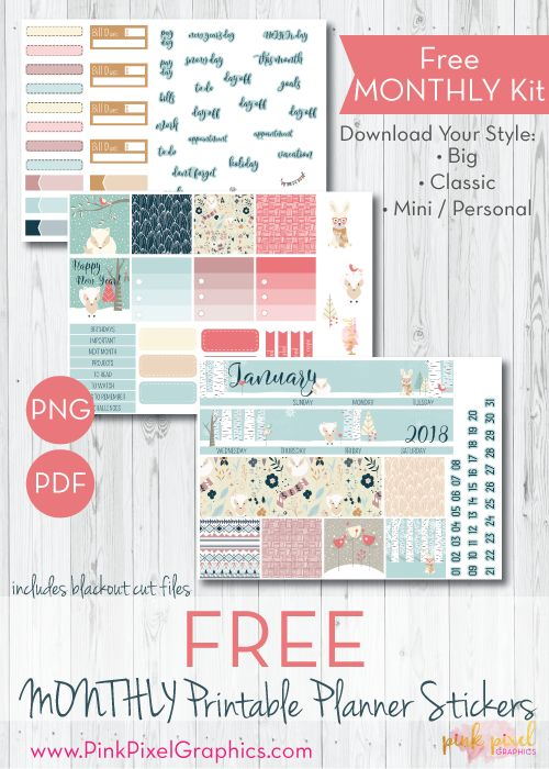 FREE January Monthly Planner Sticker Kit: Download your free planner printable stickers perfect for the Winter and season for Happy Planner, Erin Condren (ECLP) and more. These free planner sticker printables kit will fit any planner. See more at www.pinkpixelgraphics.com