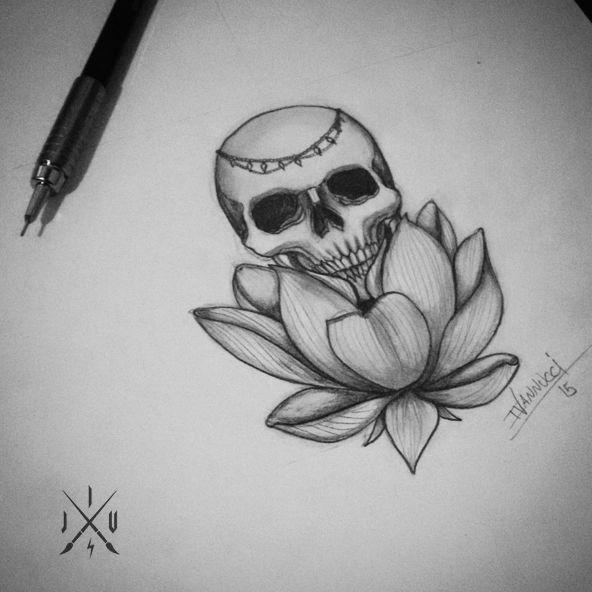 Lotus skull by Igor J Vannucci - Skull - Lotus flower - Caveira