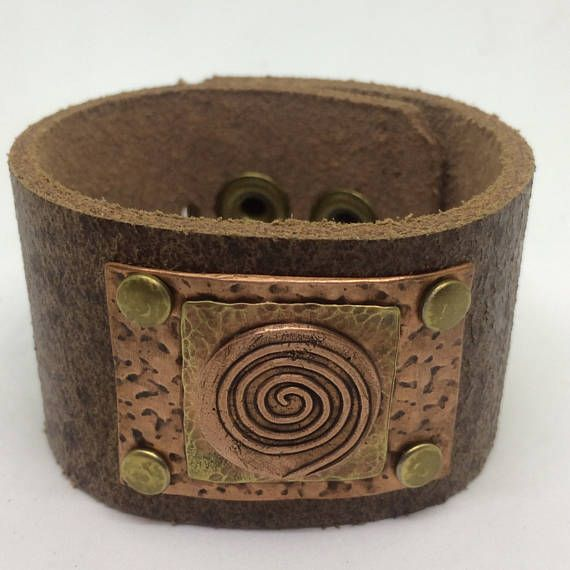 Brown Leather Cuff Bracelet for women with Copper swirl