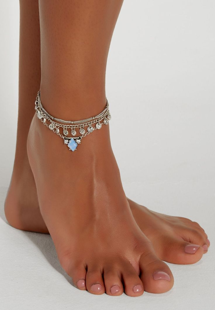 silvertone anklet trio with moonstone