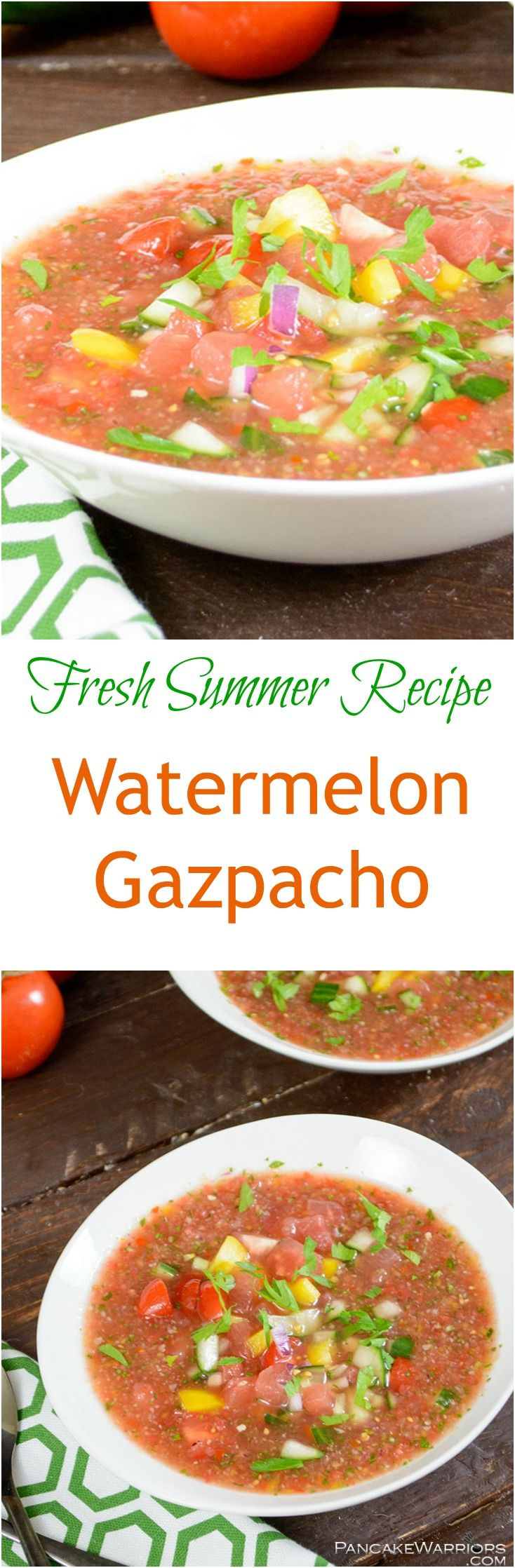 This easy watermelon gazpacho is a perfect summer soup! Packed with veggies and fruit, this low fat, gluten free, vegan recipe is sure to please a crowd.