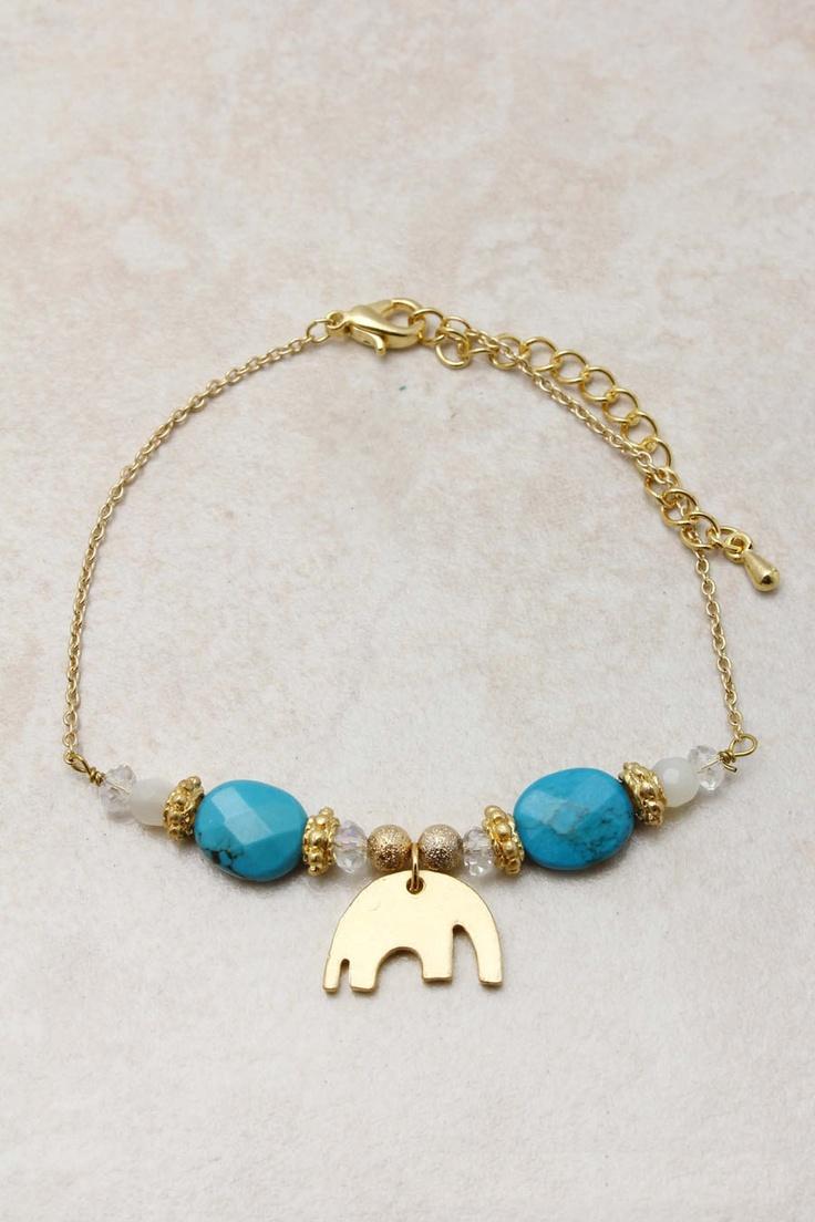 Turquoise Crystal Elephant Bracelet | Emma Stine Jewelry Set