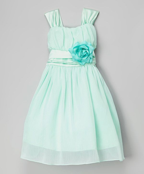 Look at this Shanil Aqua Green Rosette Dress - Toddler & Girls on #zulily today!