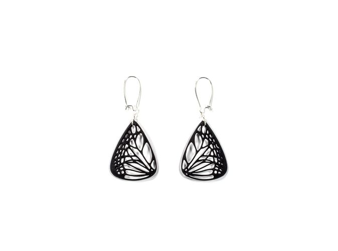 Butterfly Earrings (L)  Printed on a 3-D Printer!.Join the 3D Printing Conversation: http://www.fuelyourproductdesign.com/