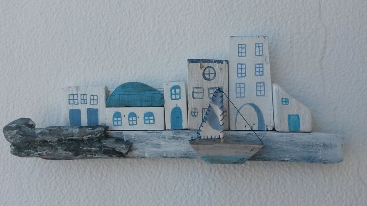 Driftwood Little Greek Street with Sailboat, Greek Village, Greek Houses, Greek Boulevard, Driftwood Houses,  Mini Houses, White Houses. by WillyaCollection on Etsy