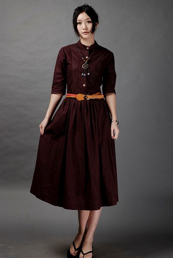 Dream You To Life-wine red linen long dress(more colour and size choice)