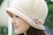secchio cappello di pelliccia di coniglio arco per i cappelli donne inverno