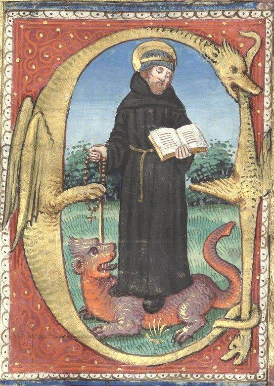 Saint Jérome(?), miniature d'une lettre en forme de double dragon (f°101v) -- Livre d'heures dit du Maître-aux-fleurs, par François Pétrarque, 1533 [BNF Arsenal Ms-640 réserve] -- Image provenant d'un autre manuscrit ? car découpages/recollages étonnants dans cette page...