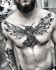 Large sketch style owl on chest by Inez Janiak