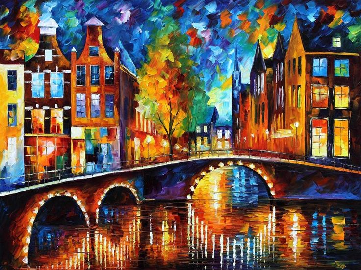"""""""The bridges of Amsterdam"""" by Leonid Afremov ___________________________ Click on the image to buy this painting ___________________________ #art #painting #afremov #wallart #walldecor #fineart #beautiful #homedecor #design"""