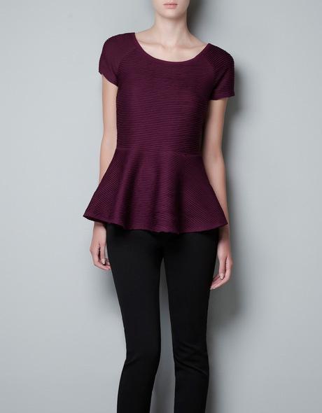 Zara Peplum Pin Tuck Top in Purple (dark aubergine)