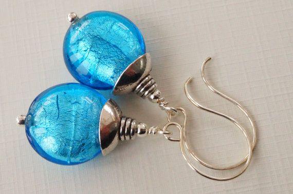 Blue earrings turquoise glass earrings by JupiterMoonJewellery