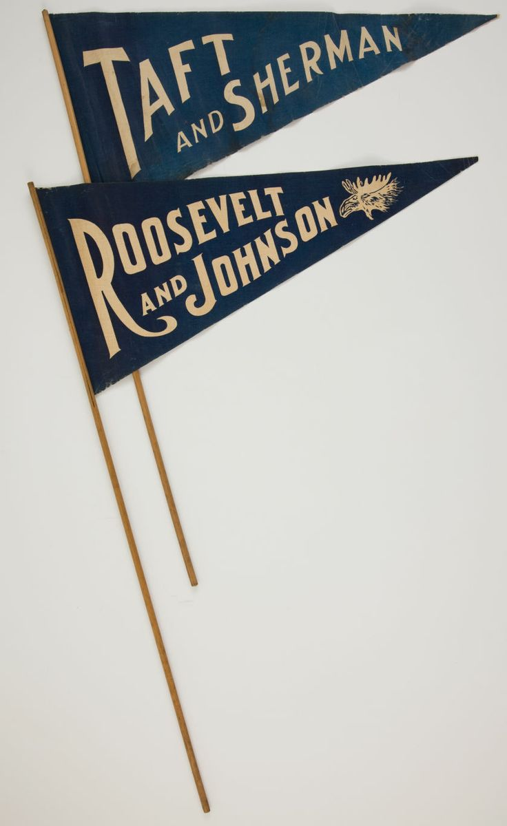 Theodore Roosevelt And William Howard Taft: Matching Pennants
