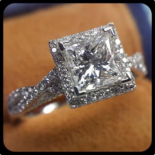 This custom Parisian-106P with the 1.5 carat princess-cut diamond is as cool as ice -- Verragio Engagement Rings and Wedding Bands