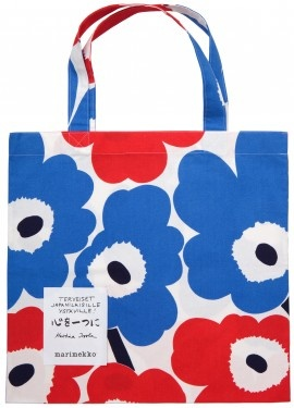 The special Unikko Fabric bags are now available in Marimekko´s own shops in Finland, Berlin, London, Stockholm and Malmö. They will donate the proceeds from the sales of the bag to Japan through the Red Cross. The cherished classic is printed in the colours of the Finnish and Japanese flags – blue, red and white.