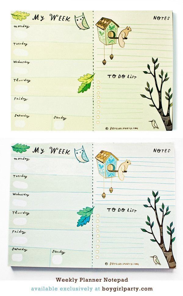 Plan your week and carry it with you! This Weekly Planner features tear-off sheets, perfect for planning a trip or your busy week on the go! Forest Animal Weekly Planner Notepad by Susie Ghahremani, available at the boygirlparty shop. #planner #weeklyplanner #planning