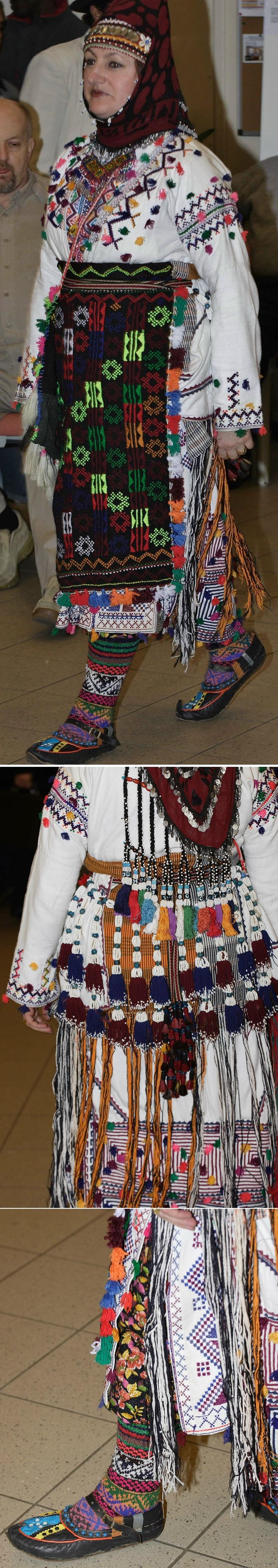 Traditional festive costume from Nebiköy (15 km NE of Tokat city).  Style: 1960s.  Ethnic group: Alevi Türkmen.  All parts are original, and bought from the village in 1989; the costume was still in use in the early 2000s.   (Kavak Costume Collection-Antwerpen/Belgium).