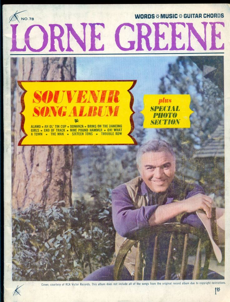 Lorne Greene Souvenir Song Book  1965 BONANZA PHOTOS Ponderosa  Lake Tahoe