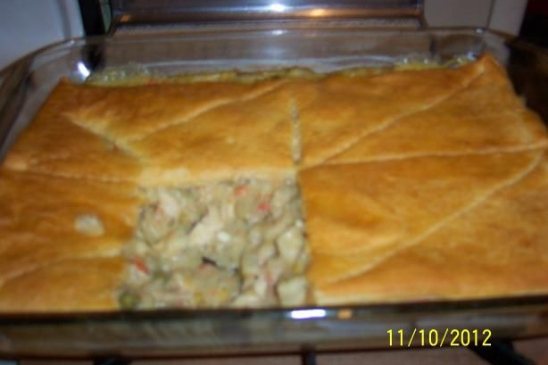Chicken Pot Pie with Cresent Roll Top. Super Easy! I tweaked it a little by adding onions to the chicken and some chopped celery. Everyone loved it!
