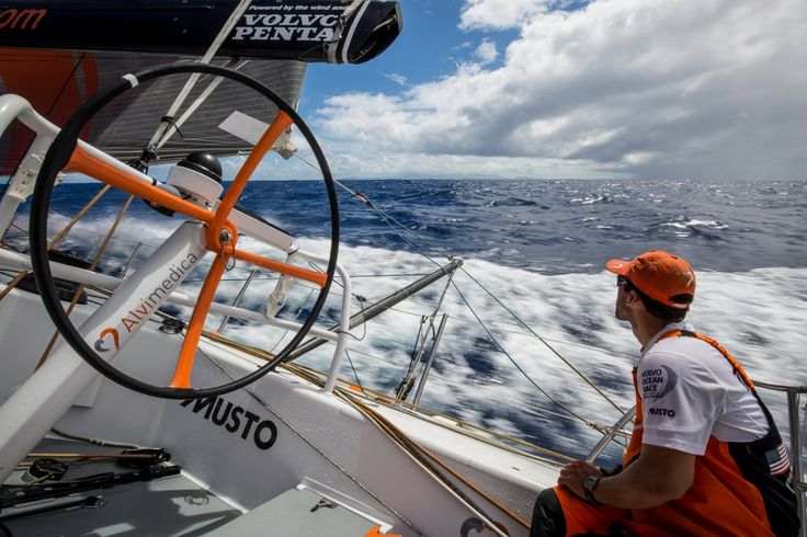 February 18, 2015. Leg 4 to Auckland onboard Team Alvimedica. Day 10. Mark Towill looks to leeward at Senyavin Island, Pohnpei. The Senyavin Islands make up part of the Caroline Islands in the Western Pacific Ocean. - Amory Ross / Team Alvimedica / Volvo Ocean Race