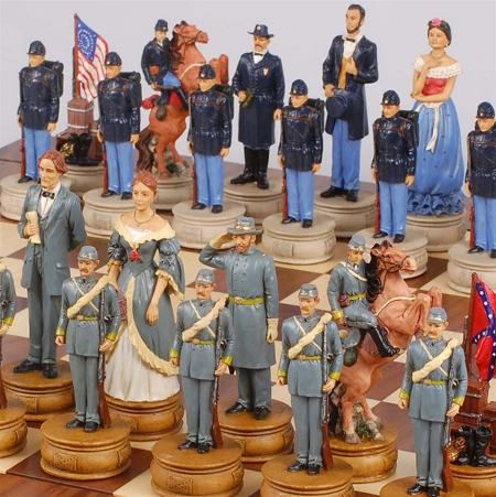A chess set depicting the two sides during the Civil War. Have this one. Special edition from History Channel.