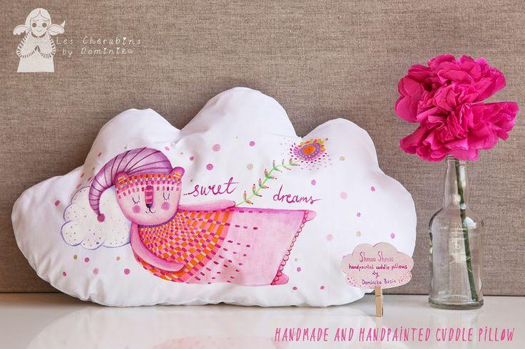 Hand painted cloud cuddle pillow by Les Chérubins