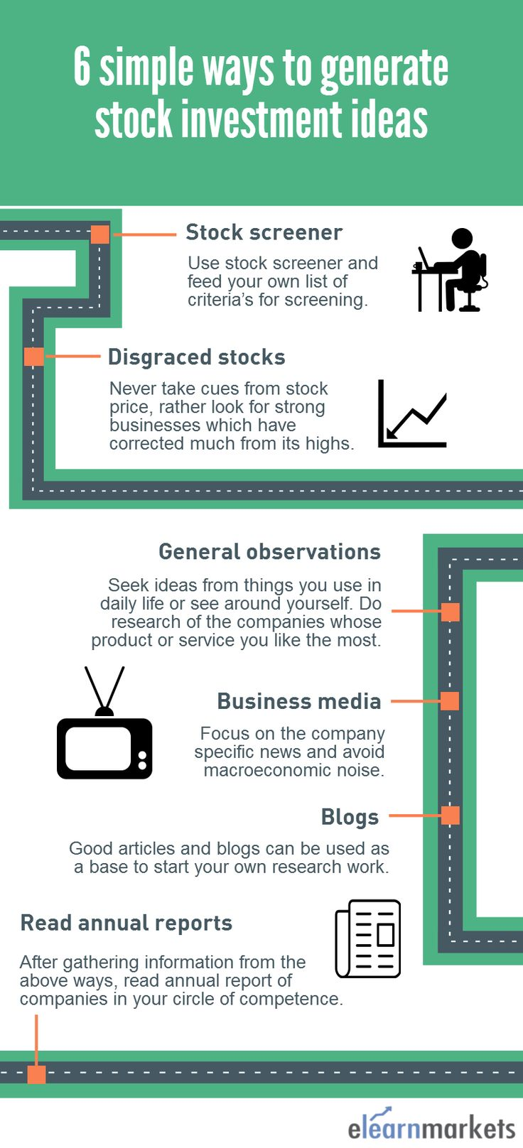 6 simple ways to generate stock investment ideas. Read the complete article below- http://blog.elearnmarkets.com/simple-ways-to-generate-stock-investment-ideas/