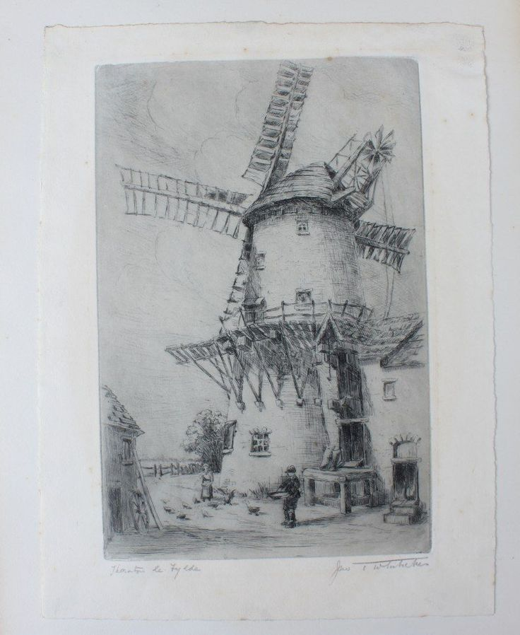 Antique 19th Century Etching Print of Marsh Mill Windmill, Thornton Le Fylde. | eBay