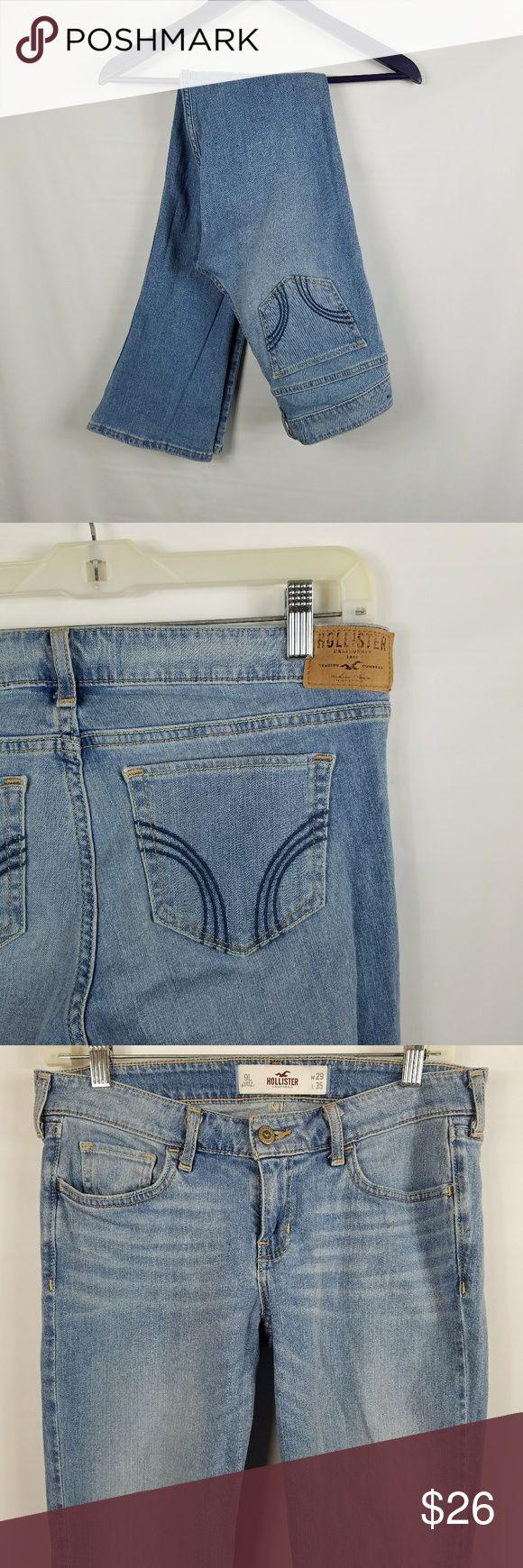 "Hollister boot cut light wash jeans size 9 long Excellent condition Hollister boot cut jeans in a light wash. Size 9 Measurements: Waist: 15"" Hips: 17.5"" Length: 41"" Inseam: 33.5"" Hollister Jeans Boot Cut"