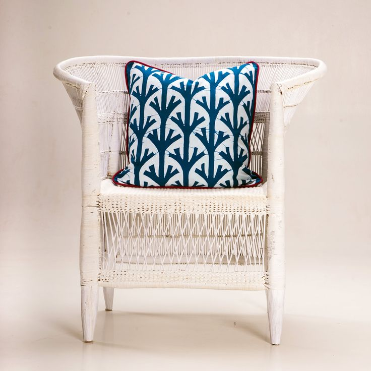 Batik cushion 'Branches' - Teal