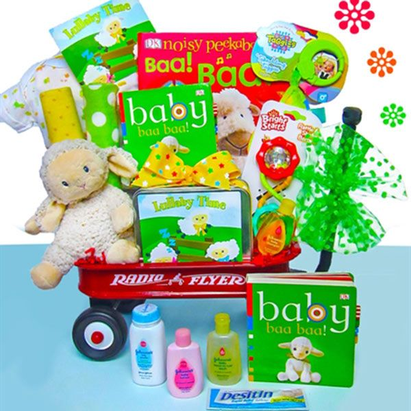 137 best baby cakes gift sets images on pinterest baby cakes baby lullaby radio flyer wagon gift basket negle Images