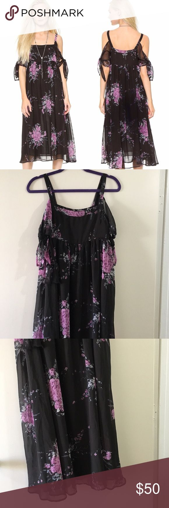 """Free People Tied To You Midnight Floral Dress Absolutely stunning dress. It has the perfect vibe between boho and chic. It features an all over purple floral print in a black background (midnight combo), square neck, slim straps, off the shoulder short sleeves with double tie closures and enclosed side zipper.  Drapes beautifully. Length: 44.5"""" Bust: 16.25"""" Free People Dresses Midi"""