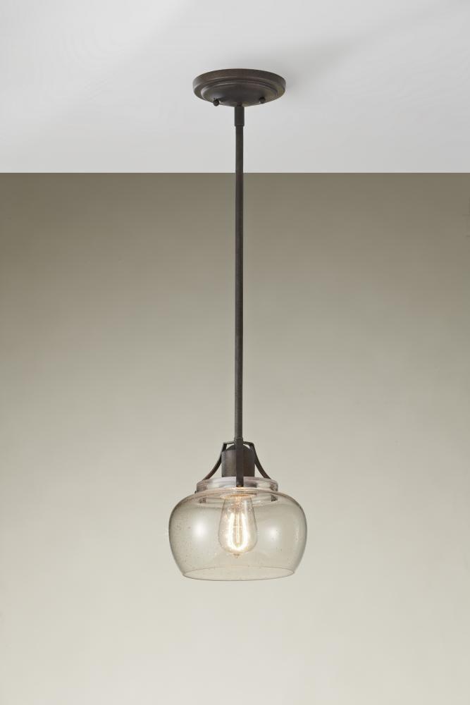 LightingOne of Cincinnati in Loveland, Ohio, United States, Murray Feiss JNNR, One Light Rust Down Mini Pendant, Urban Renewal, Rustic Iron