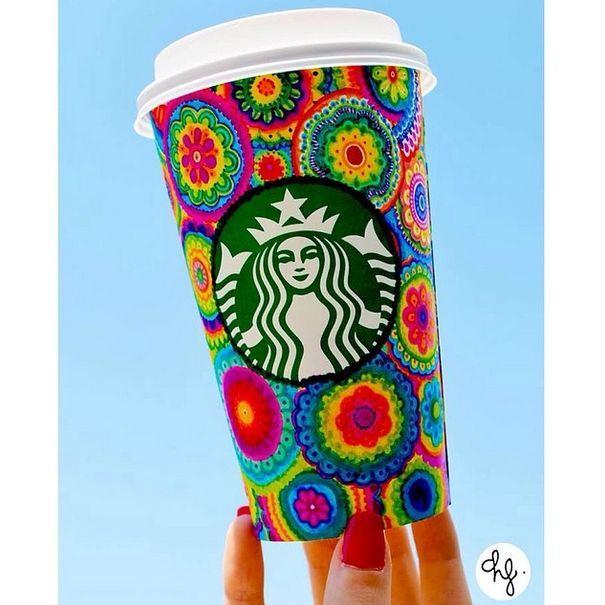 Starbucks Cup Art — Vibrant flowers designed by Daniela Hoyos.